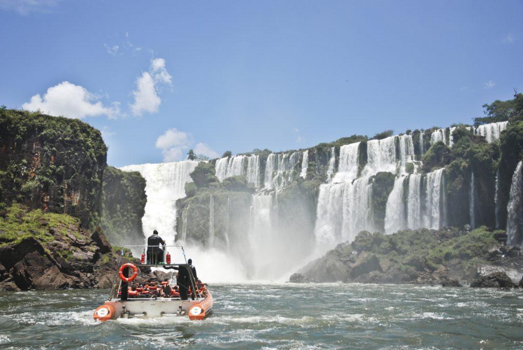 Boat approaching Iguazu Falls. Argeintinian side.