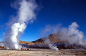 """Walking between the geysers of El Tatio, Chile, Atacama DesertMore images of same photographer in lightbox:"""