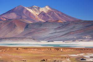 """The salt lake Salar de Talar with surrounding volcanoes in the Atacama Desert, Chile."""